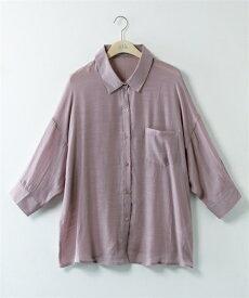 シャツ 大きいサイズ レディース シアー 7分袖 ゆるシルエット オフホワイト〜茶 3L/4L/5L ニッセン nissen