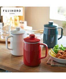 キッチン用品 富士ホーロー フィルトプラス オイル ポット 0.8L スモークブルー/ホワイト/レッド ニッセン nissen