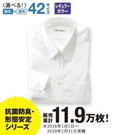 【送料無料】 ビジネス 長袖ワイシャツ メンズ LLサイズ レギュラーカラー 白 抗菌防臭・形態安定長袖ワイシャツ(標準シルエット) ニッセン 【ポイント倍付け中!】