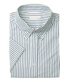 形態安定半袖ストライプボタンダウンシャツ(おなかゆったり) メンズ M-10L お腹まわりにゆとりをもたせた独自設計! 大きいサイズメンズ ビジネス ニッセン 【ポイント倍付け中!】
