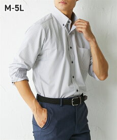 ニット素材で動きやすい! 別布使い形態安定長袖デザインボタンダウンワイシャツ メンズ M-5L テレワークにオススメ! 大きいサイズ メンズ ニッセン 【ポイント倍付け中!】