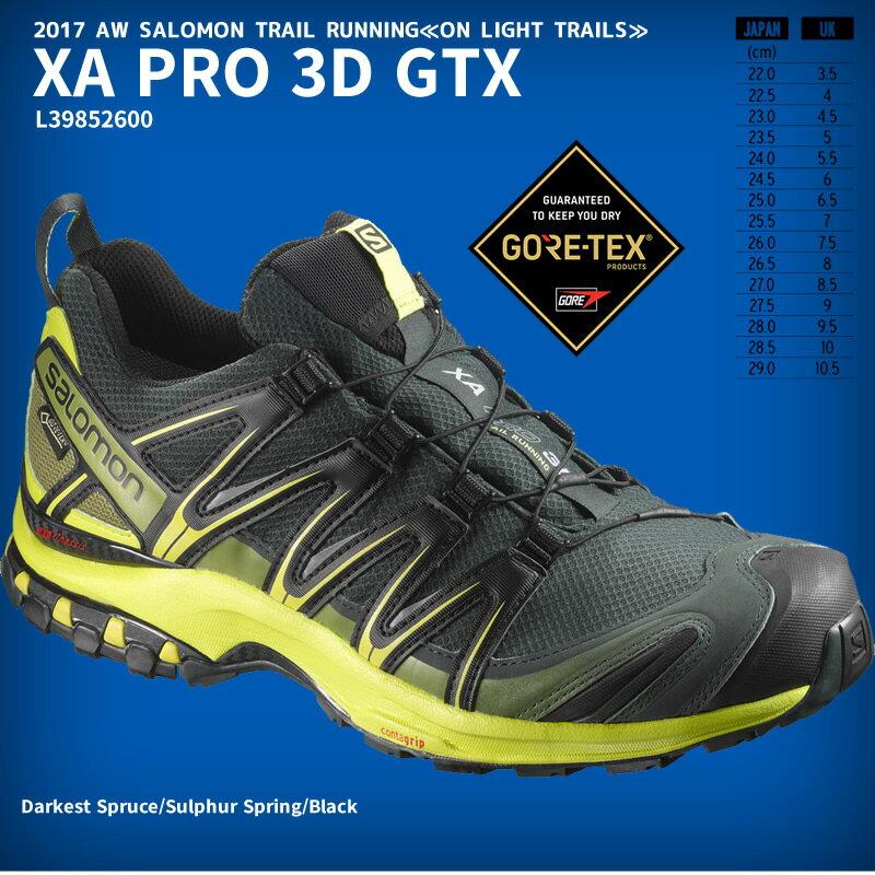 20%OFF 17秋冬 サロモン XA PRO 3D GTX ゴアテックス  L39852600  ダークスプルース/サルファースプリング/ブラック トレイルランニングシューズ メンズ 全天候対応