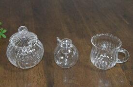 耐熱ガラス製 シュガーポット ミルクカップ 醤油ざし セット