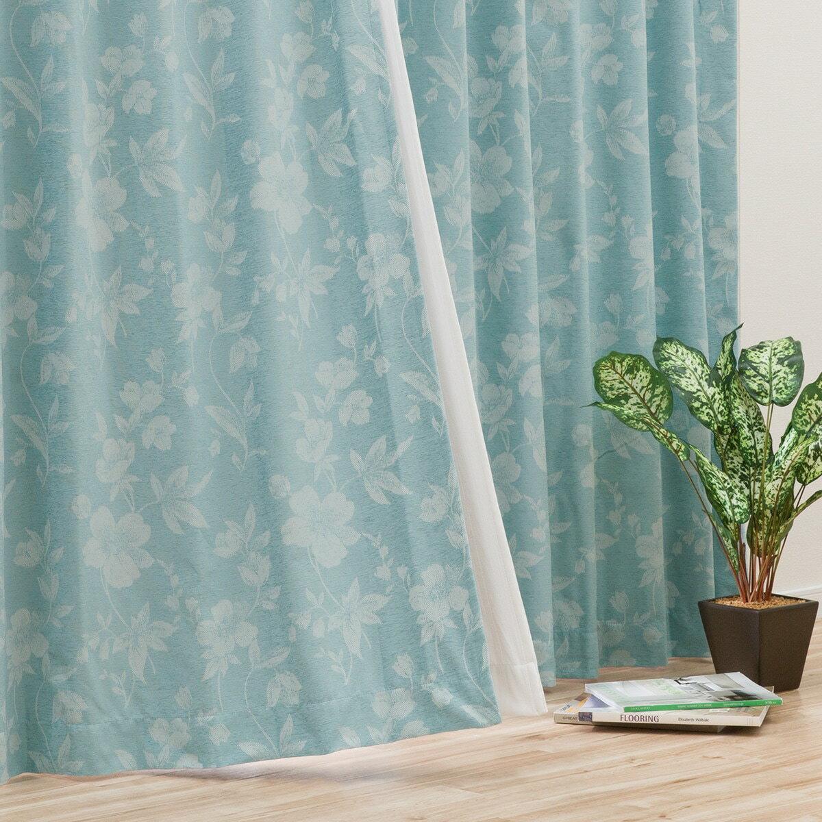 (1枚入り)裏地付き遮光2級・遮熱カーテン(センシル ターコイズブルー 100X178X1) ニトリ 【玄関先迄納品】