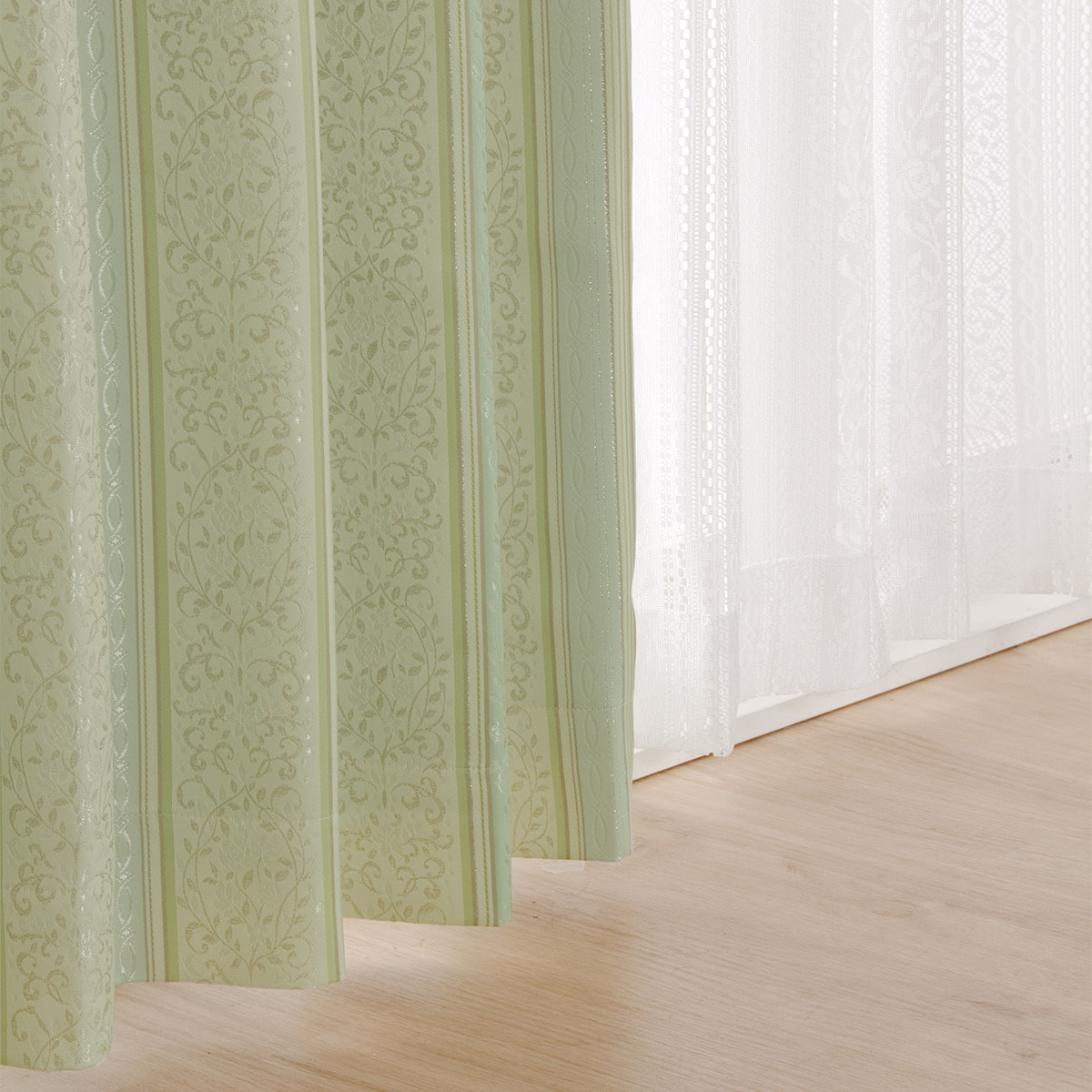 裏地付き遮光2級・遮熱ドレープカーテン(カティア グリーン 100X200X2) ニトリ 【玄関先迄納品】