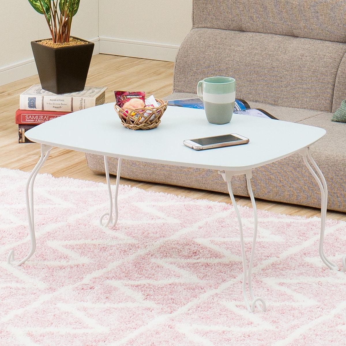 折りたたみテーブル キャル2 7050(ターコイズブルー) ニトリ 【玄関先迄納品】