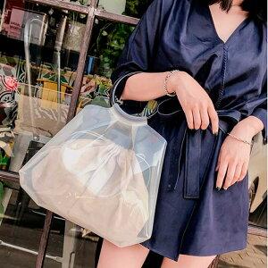 PVC トートバッグ レディース 鞄 ビニールバッグ 巾着型 ポーチ付 ハンドバッグ 半透明 シースルーバッグ リング ハンドル 夏新作