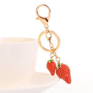いちご バッグチャーム キラキラ つぶつぶ苺 ストロベリー 雑貨 キーホルダー キーリング ゴールド チャーム プレゼント アクセサリー