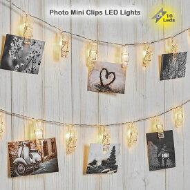 LED10球 クリップ フォトガーランド ミニサイズ LED イルミネーション 電飾 写真 ミニクリップライト 1.5メートル ledライト 飾り 電池式 結婚式 ハロウィン クリスマス 壁飾り DIY