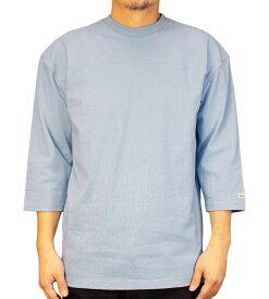 Goodwear グッドウェア USAコットン切替7分袖T サックス 2W7-2509 S M L XL 七分袖 Tシャツ シンプル 無地 肉厚 袖ロゴ おしゃれ