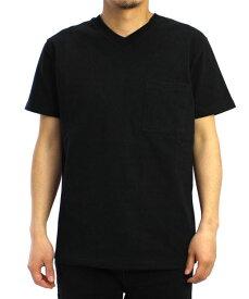 Goodwear グッドウェア USAコットン 無地ポケットVネックT ブラック 黒 2W7-3508 S M L XL 半袖 Tシャツ シンプル 無地 肉厚 袖ロゴ おしゃれ SS