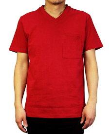Goodwear グッドウェア USAコットン 無地ポケットVネックT ダークレッド 2W7-3508 S M L XL 半袖 Tシャツ シンプル 無地 肉厚 袖ロゴ おしゃれ SS