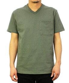 Goodwear グッドウェア USAコットン 無地ポケットVネックT Sカーキ 2W7-3508 S M L XL 半袖 Tシャツ シンプル 無地 肉厚 袖ロゴ おしゃれ SS