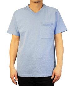 Goodwear グッドウェア USAコットン 無地ポケットVネックT ライトサックス 2W7-3508 S M L XL 半袖 Tシャツ シンプル 無地 肉厚 袖ロゴ おしゃれ SS