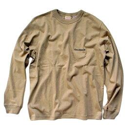 Goodwear グッドウェア 長袖Tシャツ 袖リブ胸刺繍バインダー衿ロンT ベージュ 2W7-5515 S M L XL 長袖 Tシャツ ワンポイント 肉厚 袖口リブ おしゃれ