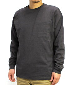 Goodwear グッドウェア USAコットン袖リブポケットロンT チャコール 2W7-8518 S M L XL 長袖 Tシャツ 無地 胸ポケ 肉厚 袖口リブ おしゃれ SS