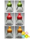 香辛料透明びん/6本入(緑、赤、オレンジキャップ付き、2本ずつ)【調味料瓶 調味料びん ガラス瓶 ガラス保存容器 保…