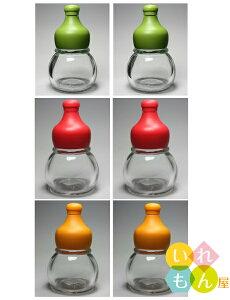 香辛料透明びん/6本入(緑、赤、オレンジキャップ付き、2本ずつ)【調味料瓶 調味料びん ガラス瓶 ガラス保存容器 保存瓶 七味 一味 スパイス 香辛料 山椒 調味料入れ 容器 硝子瓶】かわ