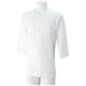 紳士 7分袖 ホックシャツ(2枚組) 愛情介護 ケアファッション ホック留め肌着 前開き紳士肌着 名札付 抗菌防臭 紳士肌着 父の日