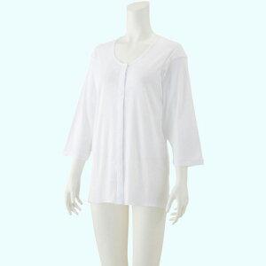 婦人 7分袖 乾燥機対応ホックシャツ 愛情介護 ケアファッション 乾燥機対応肌着 婦人肌着 7分シャツ 前開き ホック留め肌着 名札付肌着