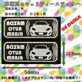マツダ ロードスター セキュリティ ステッカー m002w 内貼り ホワイト 56mm x 21.5mm