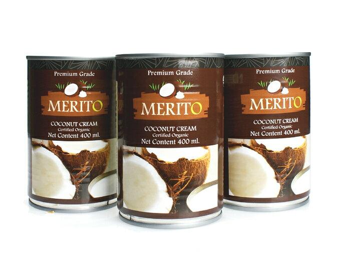 オーガニック・ココナッツクリーム 400ml×3缶セット 【濃厚ココナッツミルク 脂肪分20-22%】【タイ産 有機JAS認証品】