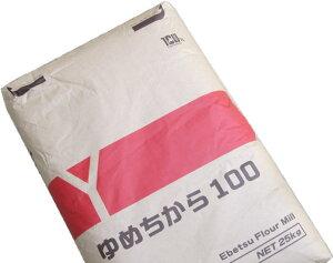 ゆめちから100%品 業務用 25Kg /北海道産強力粉 【江別製粉 北海道産ユメチカラ小麦100% パン用小麦粉】