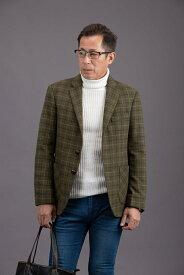 秋冬メンズシングルジャケットオリーブ色タッタソールチェック/S/M/L/XL