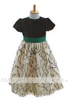 上品なホーリーグリーンベルベット子供ドレス