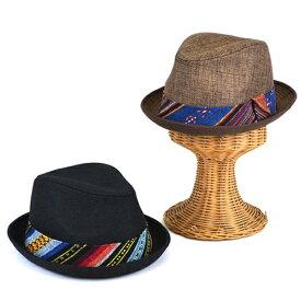 【在庫売りつくし】帽子 メンズ レディース ハット ネイティブ帯ジュート風マニッシュ中折 男女兼用 ユニセックス 中折れハット ハット帽 マニッシュ 中折 サーモ ベルト リボン アメカジ
