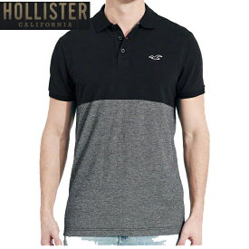 HOLLISTERホリスター正規品メンズStretch Pique Colorblock Polo半袖鹿の子ポロシャツ321-364-0674-900ブラックインポートブランド海外買い付け【楽ギフ_包装】