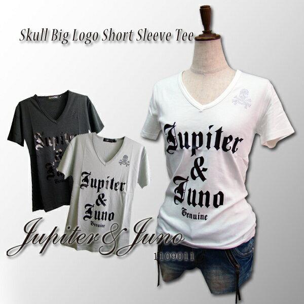 特価 セールJupiter&Juno/Ladies(ジュピターアンドジュノ)Skull Big Logo Short Sleeve Tee(スカル ビッグ ロゴ 半袖 Tシャツ)メール便 対応※※