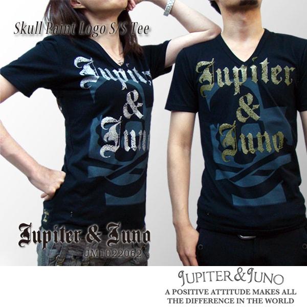《決算大セール》Jupiter&Juno(ジュピターアンドジュノ)Skull Paint Logo Tee(スカル ペイント ロゴ 半袖 Tシャツ)メール便 対応※※
