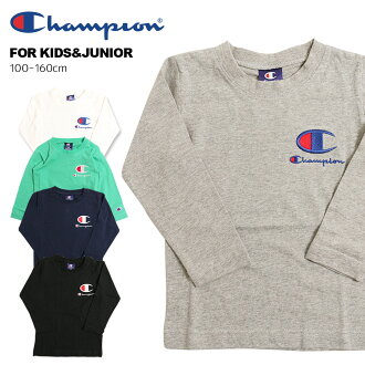 The re-arrival! DM service possible champion ○ new work ○ long sleeves T-shirt (100-160cm) children's clothes / kids / youth / cotton 100% / logo / Ron T/ long sleeves T-shirt [kids T-shirt long sleeves first place acquisition 2/24]