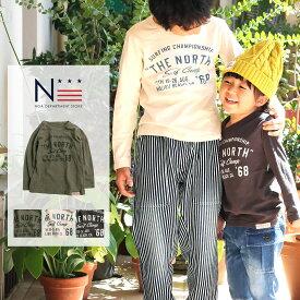 【メール便可】親子ペア お揃い THE NORTH ロンT(80cm 90cm 100cm 110cm 120cm)長袖 Tシャツ