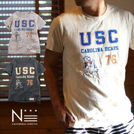 【メール便可】親子 ペア お揃い レディース メンズ Tシャツ College USC (160cm 165cm 175cm)【CO】