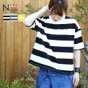 ゆったりワイドボーダーTシャツ(M L)【メール便可】黒 青 黄 ブラック ブルー ボーダーT