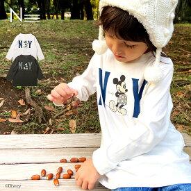 ディズニー 親子ペア お揃い○新作○NY ミッキーマウス ロンT(80cm 90cm 100cm 110cm 120cm 130cm 140cm 150cm)Disney 長袖Tシャツ 20AW 【メール便可】