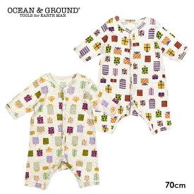 OCEAN&GROUND オーシャンアンドグラウンド Happy Present柄 長袖ロンパース(70cm)【メール便可】