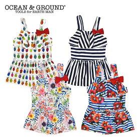【値下げ セール】OCEAN&GROUND オーシャンアンドグラウンド リボン付きフレアワンピース水着(90cm 100cm 110cm 120cm 130cm 140cm)【メール便可】
