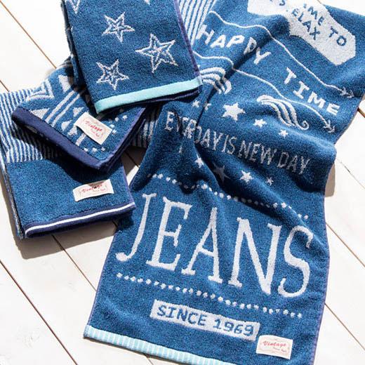 ハンドタオル タオルハンカチ ウォッシュタオル 綿100% デニムカラー ブルー ネイビー 青 タオル おしゃれ かわいい かっこいい ロゴ 星 スター ストライプ メンズ キッズ 綿100%おしゃれなジーンズ風タオル ノアン インテリア ベルーナ