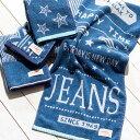 ハンドタオル タオルハンカチ ウォッシュタオル 綿100% デニムカラー ブルー ネイビー 青 タオル おしゃれ かわいい …