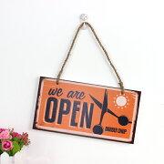 【ドアプレート】アメリカン風の理容室・理髪店用の『OPEN、CLOSED』看板
