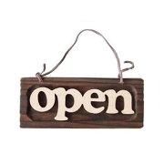 【ドアプレート】木製アジアン風の小型『OPEN』看板