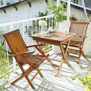 高級ホテルでも採用 ガーデン用 テーブル 椅子 セット 3点 (正方形テーブル&肘付きチェア2脚) 木製 ガーデンテーブルセット 折りたたみ 天然木 チーク材 おしゃれ 格安