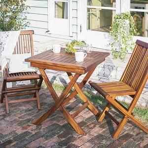 高級ホテルでも採用 木製 ガーデンテーブルセット 3点 ガーデン用 テーブル 椅子 セット 屋外 折りたたみ 天然木 チーク材 おしゃれ 格安 2人用