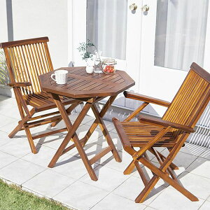 高級ホテルでも採用 木製 ガーデンテーブルセット 3点 (八角形テーブル&肘付きチェア2脚) ガーデン用テーブルセット 折りたたみ 天然木 チーク材 おしゃれ 2人掛け 2人用 格安