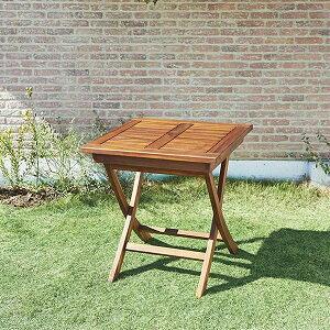 高級ホテルでも採用 ガーデンテーブル 木製 折りたたみ 正方形 単品 チーク材 ガーデン用テーブル 庭 おしゃれ