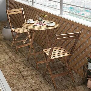 [15日はP2倍!] ガーデンテーブルセット 3点 (ラウンドテーブルw60+チェア2脚) 折りたたみ ベランダ用 ガーデンセット 木製 おしゃれ 2人用 アウトドア 屋外 円形 ベランダ
