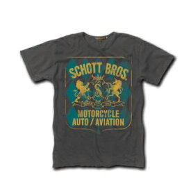 送料無料!メール便 Schott ショット Tシャツ 半袖 モーターサイクル チャコールグレー USAモデル Schott Crest Logo T-Shirt メンズ セレクト インポート【メンズセレクト】